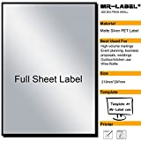 Mr-Label® Extra Large Full-Sheet Matte Silver Label Adhesive Labels – Scratchproof Waterproof Stickers for Company Information | Wine Bottle - Laser Print Only (25 Sheets)