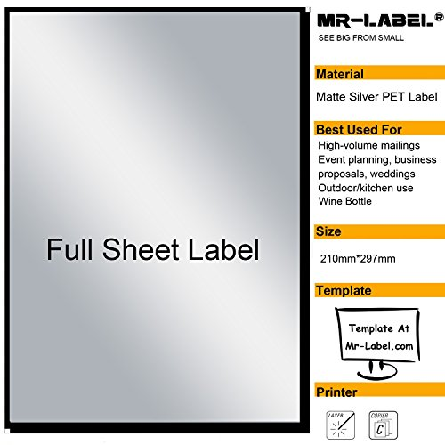 Mr-Label Extra Large Full-Sheet Matte Silver Label Adhesive Labels - Scratchproof Waterproof Stickers for Company Information | Wine Bottle - Laser Print Only (25 Sheets)