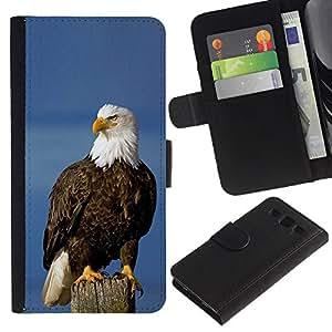 KingStore / Leather Etui en cuir / Samsung Galaxy S3 III I9300 / Symbole national des oiseaux