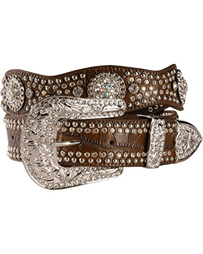 [Nocona Women's Rhinestone Embellished Croc Print Leather Belt Brown Large] (Brown Leather Concho Belt)