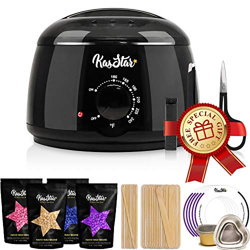 Professional Wax Warmer - KasStar Waxing Kit Hair Removal with 4 Different Flavor Hard Wax Beans 30 Wax Applicator Sticks 5 Protective Collars 3 Small Bowls and SPECIAL GIFT (at-Home Waxing)