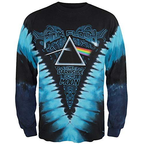 Wall Dye Tie Shirt - Liquid Blue Men's Dark Side Of The Moon Long Sleeve T-Shirt, Tie Dye, X-Large