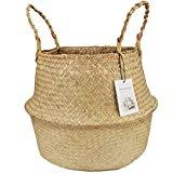 LinSHdi426 Seagrass Weaving Foldable Home Storage Bucket Jugueterías Ropa Plantas Canasta Ecológica Seagrass Baskets - Hecha a Mano a Partir de Natural Seagrass Baskets Primary Color XL