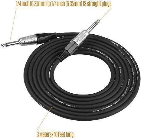Muslady Cable de Guitarra Negro Cable de Audio para Instrumentos ...