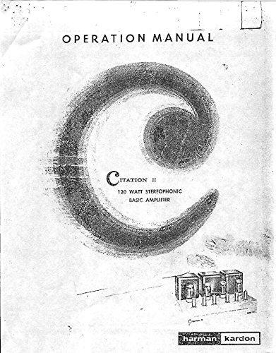 Harman Kardon Citation 2 Amplifier Owners Instruction Manual Reprint - Harman Kardon Manuals