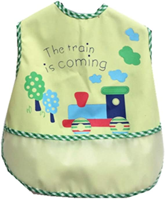 *NEW* x10 Girl Baby Bibs White with Coloured Trim Waterproof Weaning Baby Boy