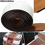 HATCHMATIC Self Adhesive EVA Boat Yacht Flooring Faux Imitation Teak Decking Sheet Pad 58x2400x5mm Foam Floor Mat Brown With Balck Strips