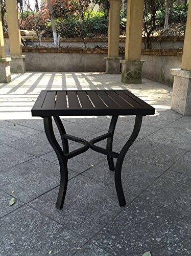 Aluminum Slat Top Outdoor Patio Side Table - Black (Slat Table Aluminum)