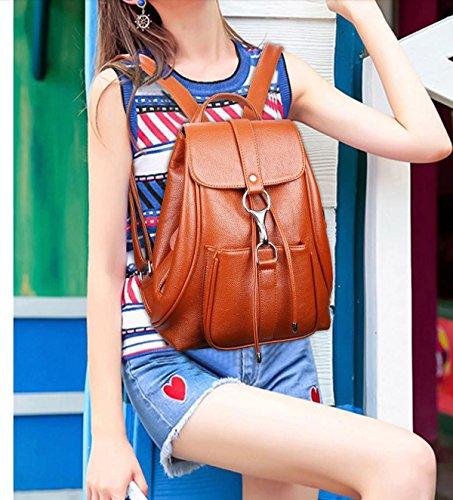 Satchel Shoulders Girls Backpack for Women's Soft Handbags for Bag Genuine Leather TUBACKPACK xqZBwH1C