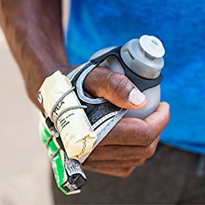 FuelBelt Hydra Fuel Hand-Held Running Hydration Bottle with Gel Pack Loops, 10 oz