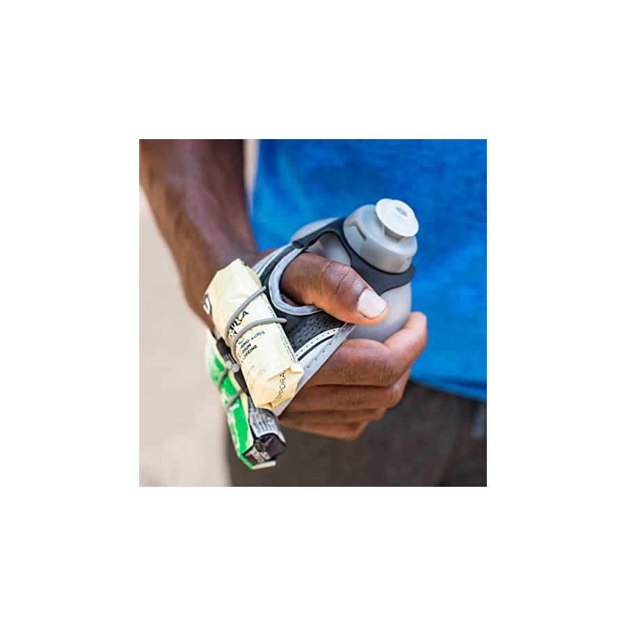 FuelBelt Hydra Fuel Hand Held Running Hydration Bottle with Gel Pack Loops, 10 oz