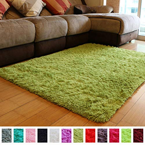 (PAGISOFE Soft Shag Green Furry Area Rugs for Living Room Bedroom Kids Room Rug Fluffy Comfy Floor Carpet for Nursery Modern Plush Home Center Decorative Rug Cheap Fur Rug Mat)