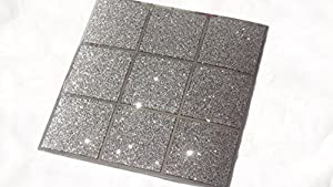 Pack Of 10 Black And Silver Glitter Mosaic Tile Transfers Stickers Bathroom K