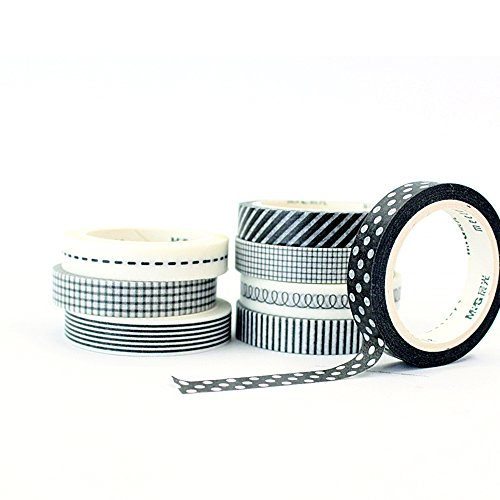 Signature Collection Designer Washi Tape 8 Roll (Black & White - England Black Deer