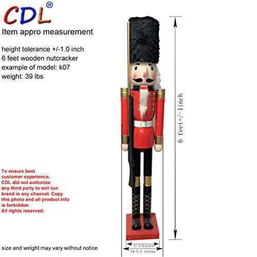 CDL 6ft tall life-size large/giant Christmas wooden nutcracker soldier ornament on stand carry ceremonial gun for indoor outdoor Xmas/event/ceremonies/commercial decoration(6 feet, soldier red k07) by CDL (Image #2)