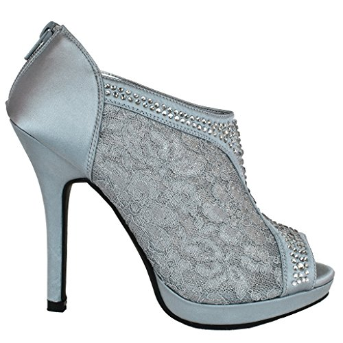 Lace High Heel Shootie with Flatback Crystals Style AYAEL9 Silver