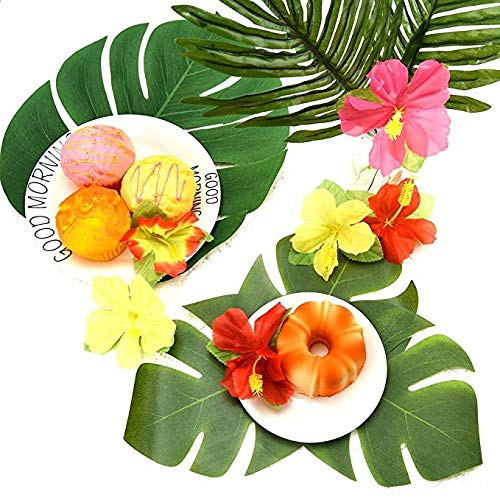 Hawaiian Luau Party Supplies-1 Pack Grass Table Skirt 9ft,20 Pcs Tropical Faux Palm Leaves5Pcs Adhesive Hook & Loop for Hula, Luau, Maui, Hawaiian, Moana Themed Party(26pcs) by COCOScent (Image #7)'