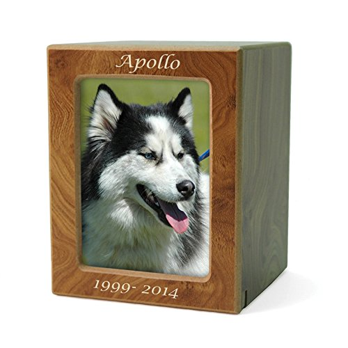 OneWorld Memorials Photo Frame Wood Cremation Urn for Cats and Dogs - Medium - Holds Up to 85 Cubic Inches of Ashes - Natural Brown Pet Cremation Urn for Ashes - Engraving Sold Separately from OneWorld Memorials