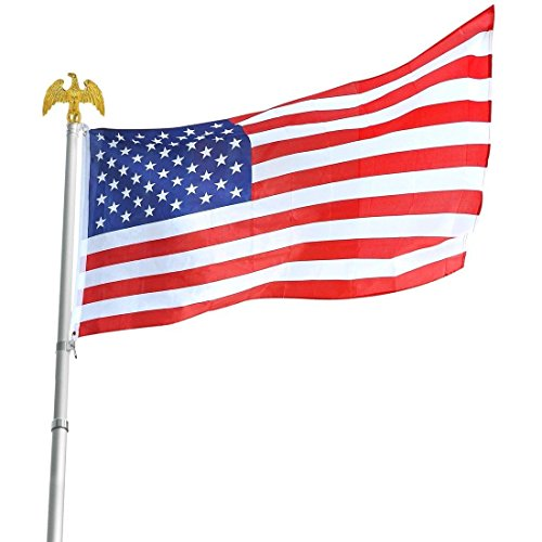 Deluxe U.S. Flag Pole Set With Golden Eagle Top by Americana, 6-Foot 3-Piece Aluminum Rust-Proof Pole, 3'x5' Flag by Americana