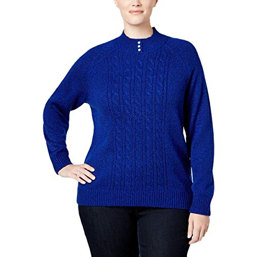 Karen Scott Womens Plus Marled Cable Knit Pullover Sweater Blue (Blue Cable Knit Sweater)