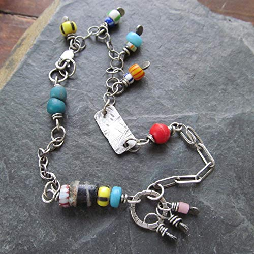 African Trade Bead Ankle Bracelet Silver Anklet- Diana Anton Jewelry Design
