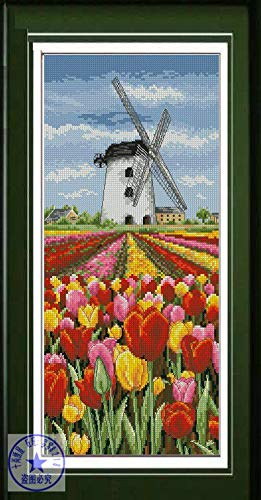 Zamtac Top Quality Lovely Counted Cross Stitch Kit Dutch Landscape Tulip Field and Windmill Flowers Anchor - (Cross Stitch Fabric CT Number: 18CT unprint Canvas)
