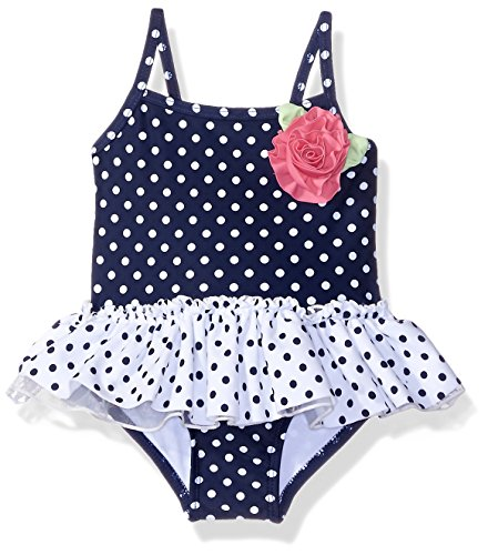Little Me Baby Girls' One-Piece Swimsuit UPF 50+ , Navy Multi, 12 Months