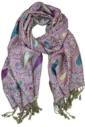 Achillea Soft Silky Reversible Paisley Pashmina Shawl Wrap Scarf w/Fringes 80quot x 28quot Paisley Turquoise Purple