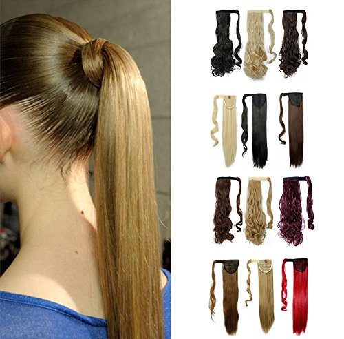 Wrap Around Synthetic Ponytail One Piece Heat Resistant Magic Paste Pony Tail Long Straight Soft Silky for Women Lady Girls 23'' / 23 inch (ash (Sexy Ponytails)