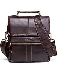 Genuine Leather Men Messenger Crossbody Shoulder Travel Handbag Dark Coffee e5b81e0559668