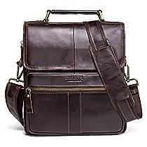 Contacts Genuine Cowhide Men Messenger Single Shoulder Bag 10 Tablet PC Bag