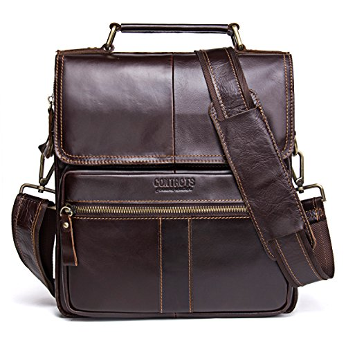 Contacts Genuine Leather Men Messenger Crossbody Shoulder Travel Handbag Dark Coffee