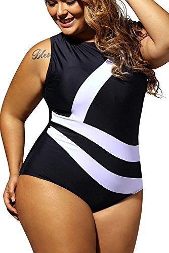 6189f09a85 WoldGirls Women's Plus Size Swimsuit Swimwear One Piece Sports Bathing Suit  Monokini Bikini with Zipper (Small, Black)