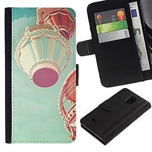 Paccase / Billetera de Cuero Caso del tirón Titular de la tarjeta Carcasa Funda para - Hot Air Balloon Teal Pink Peach Vintage - Samsung Galaxy S5 Mini, SM-G800, NOT S5 REGULAR!