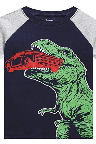 Little Boys Pajamas Set for Toddler Cotton Clothes 4-Pieces Dinosaur Shark 2T Sleepwear Kids Casual Long Sleeve Pjs Set (GlassSharkDinosaur,2T)