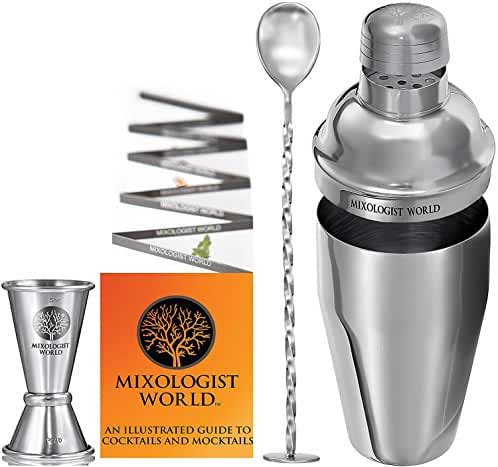 Cocktail Shaker Bar Set / Martini Kit - with Double Measuring Jigger and Mixing Spoon plus Drink Recipes Booklet - 24 ounces Premium Bartender Stainless Steel Boston Tin Built-in Strainer Tool