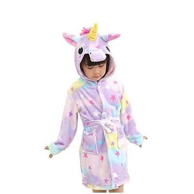 734f19b8e81 Unicorn Animal Hooded Bath Robe Towel Soft Flannel Plush Children Pajamas 5t