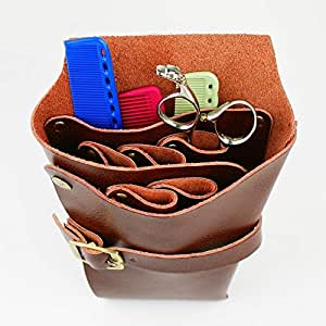 Hair Cutting Tool Barber Comb Scissor Holster with Belt Beauty Hairstylist Holster Pouch, Hairdressing Tool (Color : Brown)