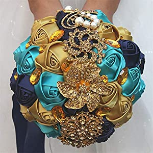 S_SSOY Customization Brooch Wedding Bouqeut Bridal Bride Bridesmaid Holding Ribbon Rose Flowers Bouquets for Valentine's Day Church Confession (Gold Peacock Blue, Diameter 9.4 inches) 49