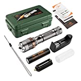 KANGORA Cree LED Flashlight Lotus Attack Head - 5 Light Modes and Zoomable Focus - High Powered Tactical Flashlights - Waterproof Outdoor Handheld Torch, Zoom Lens with adjustable focus