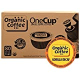 The Organic Coffee Co. OneCup, Gorilla DECAF, (80 Count) Single Serve Coffee, Compatible with Keurig K-cup Brewers, Swiss Water Decaffeinated USDA Organic