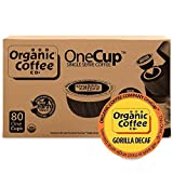 80ct k cup coffee - The Organic Coffee Co. OneCup, Gorilla DECAF, (80 Count) Single Serve Coffee, Compatible with Keurig K-cup Brewers, Swiss Water Decaffeinated USDA Organic