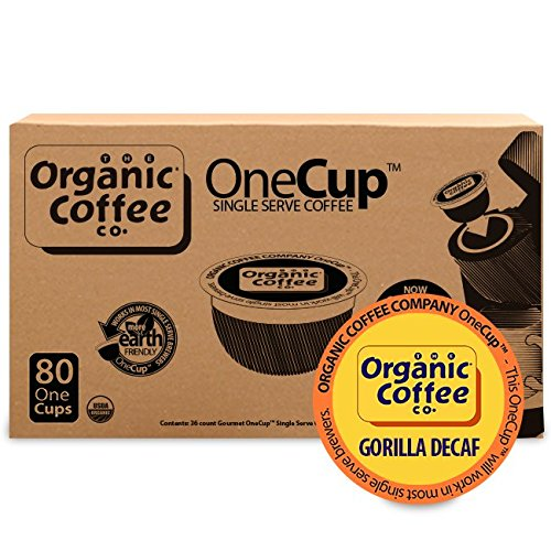 The Organic Coffee Co. OneCup Gorilla DECAF (80 Count) Single Serve Coffee Compatible with Keurig K-cup Brewers Swiss Water Decaffeinated USDA Organic ()