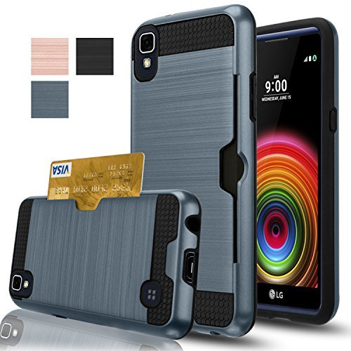 LG X Power Case, AnoKe [Card Slots Holder][Not Wallet] Hard Silicone Rubber Hybrid Armor Shockproof Protective Holster Cover Case for Sprint/Boost Mobile LG X Power- KLS Metal Slate
