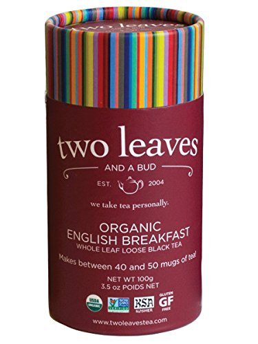 Two Leaves and a Bud Organic English Breakfast Black Loose Tea Cylinder, 3.5 Ounce, Organic Whole Leaf Full Caffeine Black Tea Loose Leaf in Resealable Sleeves, Delicious Hot, Iced, Sweet or Plain