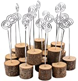 Dedoot Wood Base Wedding Table Name Number Holder, 20pcs Tree Branches Wedding Menu Seat Clip Wooden Photo Holder Wood with Wire Party Business Card Holder Decoration