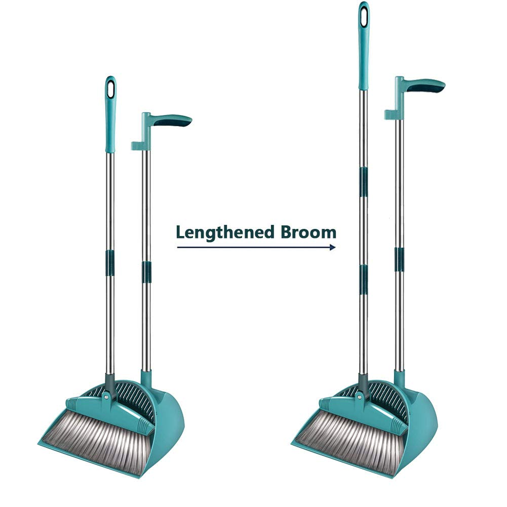SUPERJARE Broom and Dustpan Set, Lengthened Upright Grips Sweep Combo, 180° Rotation Broom for Home & Office - Green by SUPERJARE (Image #4)