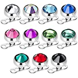 EG GIFTS Dermal Anchors Tops and Bases Mix Colors 16g 4 mm CZ Surgical Steel 11pc