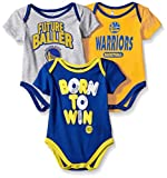 NBA by Outerstuff NBA Newborn & Infant Golden State Warriors Little Fan 3pc Bodysuit Set, Heather Grey, 3-6 Months