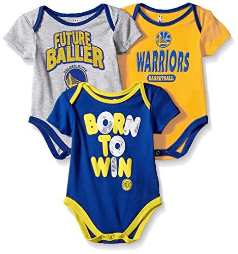 Outerstuff NBA NBA Newborn & Infant Golden State Warriors Little Fan 3pc Bodysuit Set, Heather Grey, 12 Months ()